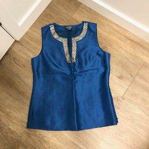 Fancy Blue Top with Sequin Trim